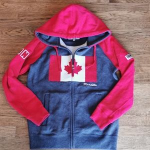 Mondetta Canadian Flag Lined Hood Red Grey XS